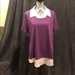 Purple top with faux white collared shirt